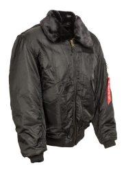 fekete CWU szőrmegalléros férfi kabát