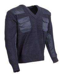 Kék V-nyakú pulóver