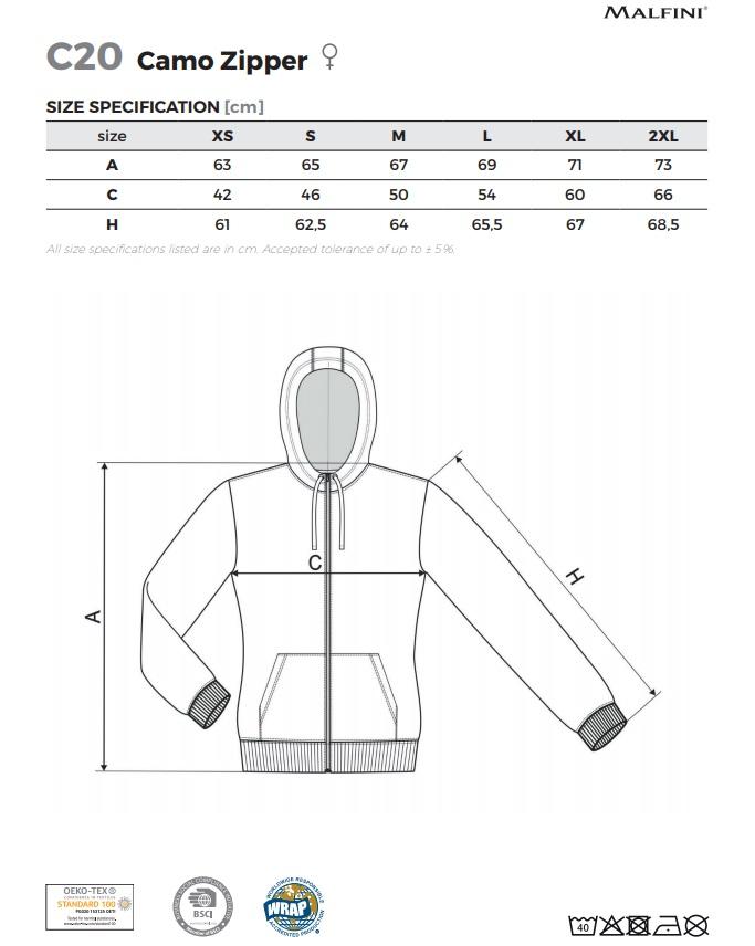 női terepmintás pulóver méretek
